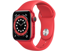 Умные часы APPLE Watch Series 6 40mm Red Aluminium Case with Red Sport Band M00A3RU/A Выгодный набор + серт. 200Р!!!