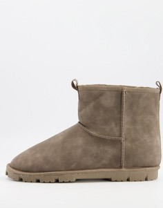 Серые ботинки-слиперы из искусственной замши ASOS DESIGN-Серый