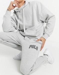Серые флисовые джоггеры с манжетами и логотипом на штанине Polo Ralph Lauren-Серый