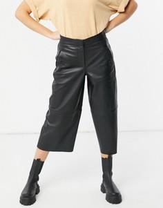 Кожаные кюлоты черного цвета AllSaints Leah-Черный
