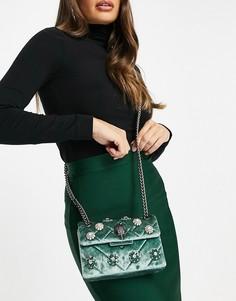 Зеленая вельветовая сумка мини через плечо со стразами Kurt Geiger London Kensington-Зеленый