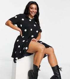 Свободное платье в горошек с V-образным вырезом AX Paris Plus-Многоцветный