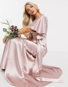 Розовое атласное платье макси с рукавами-кимоно, поясом и юбкой клиньями ASOS DESIGN Bridesmaid-Розовый