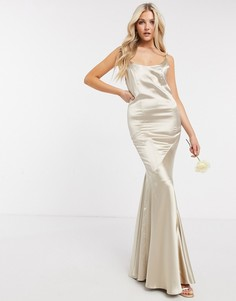 Атласное платье макси с пуговицами на спине ASOS DESIGN Bridesmaid-Бежевый