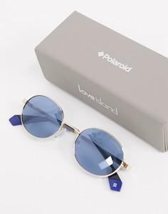 Круглые солнцезащитные очки в золотистой оправе с синими стеклами Polaroid X Love Island-Золотистый