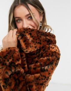Шуба из искусственного меха рыжего цвета с леопардовым принтом BB Dakota-Оранжевый цвет