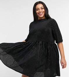 Велюровое платье мини с присборенной юбкой в рубчик и завязкой на спинке Urban Threads Curve-Черный цвет