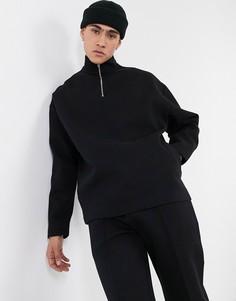 Черный oversized-свитшот из плотного двойного трикотажа с короткой молнией от комплекта ASOS DESIGN-Черный цвет