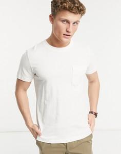 Футболка с круглым вырезом и карманом Selected Homme Jared-Белый