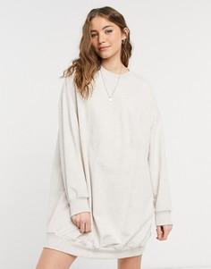 Бежевое меланжевое платье-худи в стиле oversized ASOS DESIGN-Бежевый