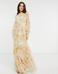 Платье макси с длинными рукавами с 3D-эффектом и смешанным цветочным принтом Needle & Thread-Многоцветный