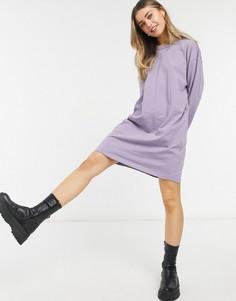 Пепельно-фиолетовое платье-футболка в стиле oversized с длинным рукавом ASOS DESIGN-Сиреневый
