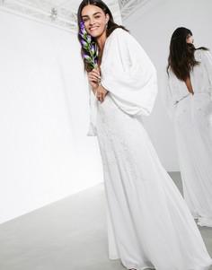 Свадебное платье с глубоким вырезом и цветочным узором ASOS EDITION-Белый