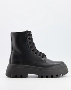 Черные ботинки на шнуровке и массивной подошве ASOS DESIGN Alert-Черный цвет
