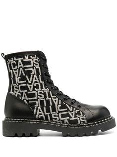 Just Cavalli ботинки в стиле милитари с монограммой
