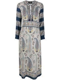 ETRO платье с принтом пейсли и завязками на воротнике