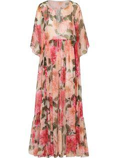 Dolce & Gabbana платье макси с цветочным принтом и складками