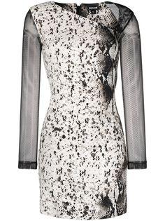 Just Cavalli платье со змеиным принтом и сетчатыми рукавами