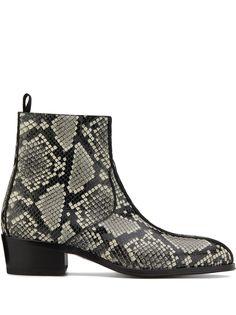Giuseppe Zanotti ботинки New York Double с тиснением под кожу змеи