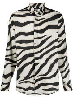 Just Cavalli рубашка на пуговицах с зебровым принтом