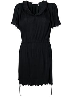 See by Chloé плиссированное платье с U-образным вырезом