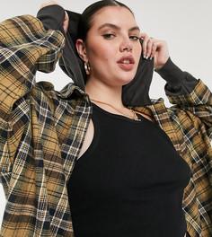 Платье-рубашка миди в клетку с капюшоном COLLUSION Plus-Бежевый