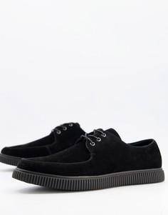 Черные ботинки-криперы из искусственной замши на шнуровке ASOS DESIGN-Черный цвет