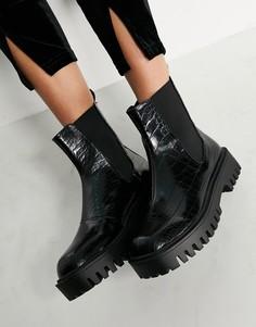 Черные ботинки челси с эффектом кожи крокодила RAID Zinnia-Черный цвет