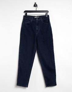 Темно-синие суженные книзу джинсы с завышенной талией Levis-Голубой