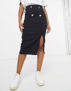Черная юбка-карандаш из бенгалина с декоративными пуговицами ASOS DESIGN-Черный цвет