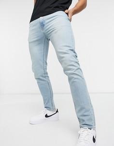 Светлые выбеленные зауженные джинсы Levis 510-Голубой