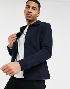 Темно-синяя спортивная куртка с контрастными пуговицами Selected Homme-Темно-синий