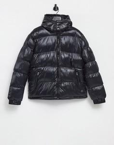 Черная дутая куртка с воротником-стойкой Brave Soul-Черный цвет