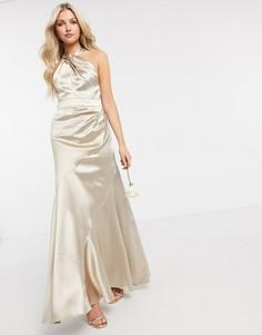 Атласное платье макси с халтером для подружки невесты ASOS DESIGN-Бежевый