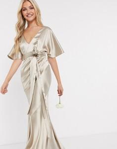 Светло-бежевое атласное платье макси с рукавами-кимоно, поясом и юбкой клиньями ASOS DESIGN Bridesmaid-Бежевый