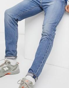 Синие узкие джинсы с эффектом застиранности Levis 512-Голубой