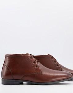 Коричневые кожаные ботинки чукка ASOS DESIGN-Коричневый цвет