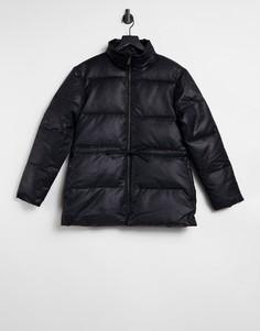 Черная дутая куртка с текстурой под крокодиловую кожу Selected Femme-Черный цвет