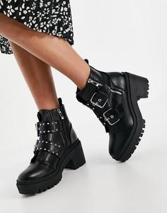 Черные ботинки на массивной подошве с пряжками RAID Saint-Черный цвет