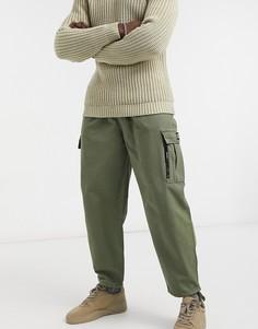 Брюки-карго цвета хаки с манжетами Bershka-Зеленый цвет