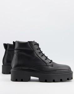 Черные кожаные массивные ботинки на шнуровке с квадратным носком ASOS DESIGN Advance-Черный цвет