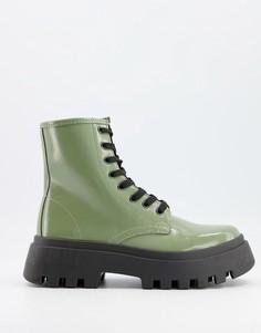 Зеленые ботинки на толстой подошве и шнуровке ASOS DESIGN Alert-Зеленый цвет