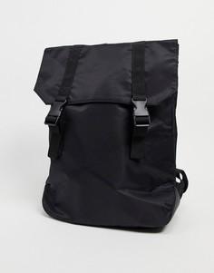 Черный нейлоновый рюкзак с двойными ремешками ASOS DESIGN-Черный цвет