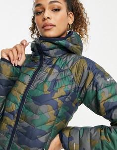 Зеленая куртка с капюшоном и камуфляжным принтом Columbia Powder Lite-Темно-синий