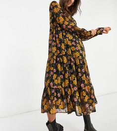 Черное шифоновое платье миди с присборенной юбкой и цветочным принтом горчичного цвета Pieces Maternity-Многоцветный