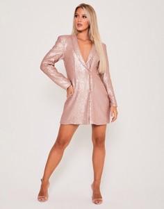 Двубортное платье-пиджак с пайетками в оттенке «розовое золото» Saint Genies-Золотистый