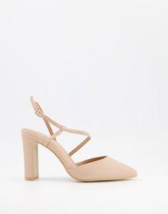 Туфли-лодочки бежевого цвета с ремешками New Look-Бежевый