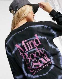 Oversized-футболка с надписью «Mind, Body & Soul» и принтом тай-дай голубого цвета ASOS DESIGN-Голубой