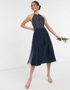 Темно-синее платье миди для подружки невесты из тюля с халтером и изящными однотонными пайетками Maya-Темно-синий