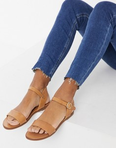 Светло-коричневые открытые сандалии на плоской подошве Aldo-Светло-коричневый